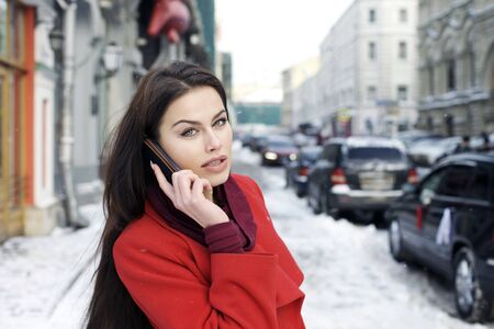 Beautiful young woman. Outdoor winter portrait  Stock Photo - 17507877