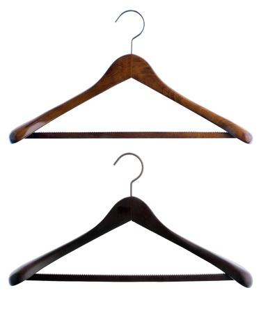 shirt hanger: Dark wood coat hanger isolated on white