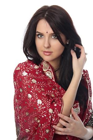 Young beautiful woman in sari  photo