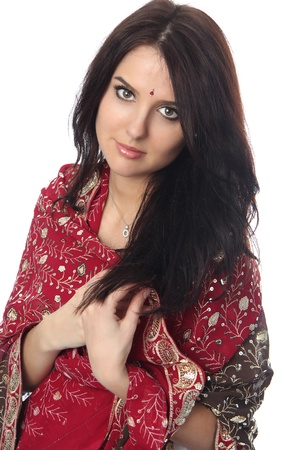 Young beautiful woman in sari  photo