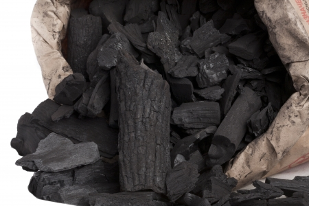 lump: charcoal in a paper bag Stock Photo