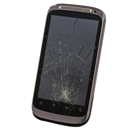 broken telephone: cell phone with a broken screen