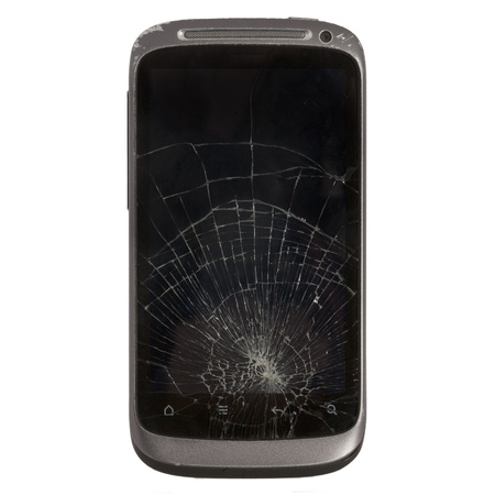cracked glass: cell phone with a broken screen