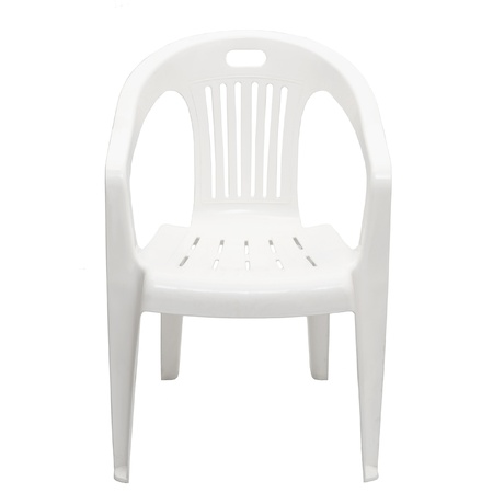one plastic chair isolated on white background Stock Photo - 17645459