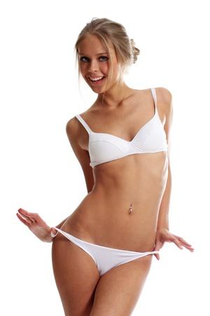 abdomen plano: Sexy modelo de ropa interior