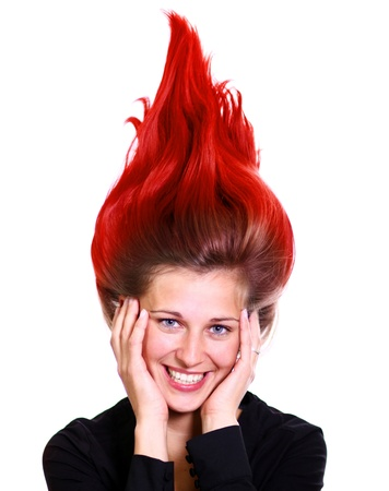 Happy young woman, beautiful hair Banque d'images