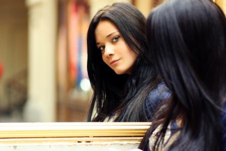 mirror: Fashion portrait of a professional model