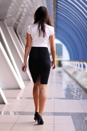 beautiful walking woman  photo