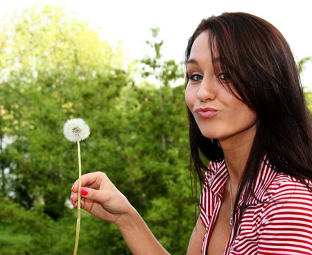 Dandelion - The girl blows on a dandelion  photo