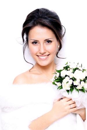 Portret van de jonge mooie bruid Stockfoto