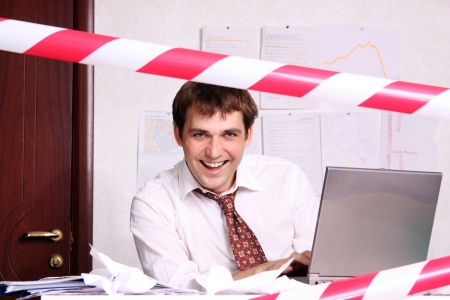 short sale: Business man working in the office Stock Photo