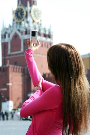 area sexy: Young woman photographed attractions in Moscow