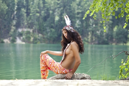 nude sexy girl: Young woman in costume of American Indian