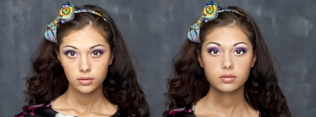 Before and after the retouch photo