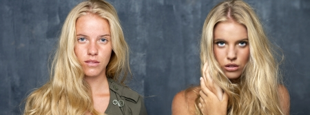 two person only: Visagiste, Makeup Before and after the retouch Stock Photo