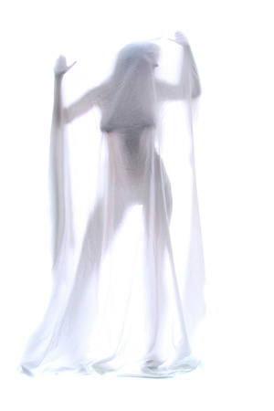 The body of a beautiful naked woman through the transparent fabric on a white background  photo