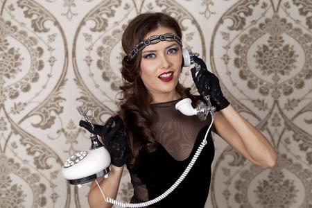 maffia: Woman portrait in retro style with phone