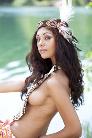 sexy women naked: Young woman in costume of American Indian