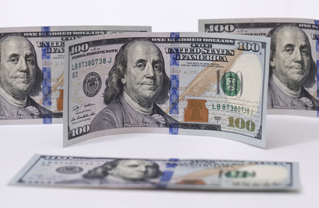 ben franklin money: New banknote hundred dollars with protective holographic ribbon