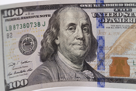 holographic: New banknote hundred dollars with protective holographic ribbon