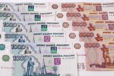 dignidad: Dinero ruso billetes dignidad cinco mil y mil rublos fondo Foto de archivo