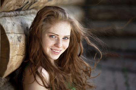 Portrait of the beautiful red-haired girl 免版税图像 - 28202704