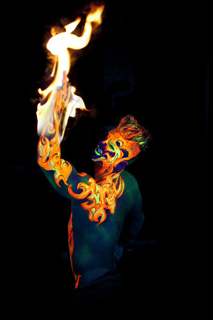 body art: Body art glowing in ultraviolet light