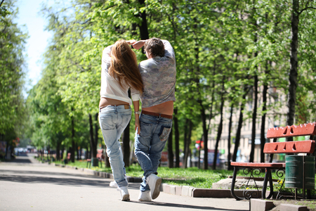 Portrait of love couple embracing outdoor photo