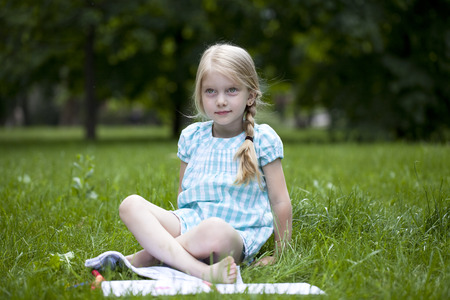 Portrait of a beautiful blonde little girl Stock Photo