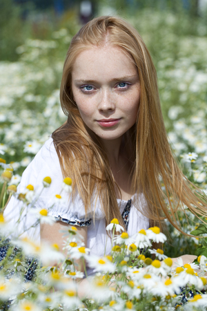 Beautiful young woman sitting in a field of chamomile photo
