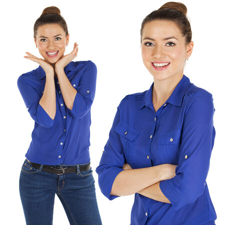 Close up portrait of a beautiful women in blue shirt, isolated on white background photo