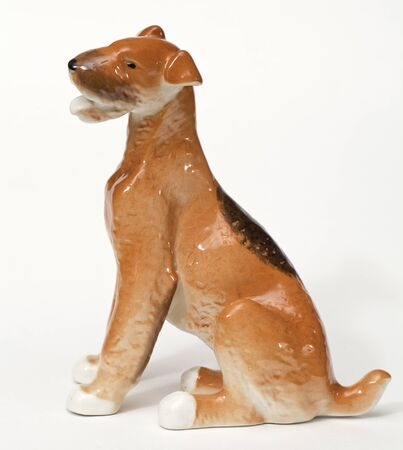 adeptness: Fox terrier. Ceramic figurine, dog breed isolated on white Stock Photo