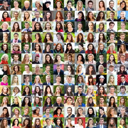 caras: Colecci�n de diferentes mujeres y hombres de 18 a 50 a�os de raza blanca