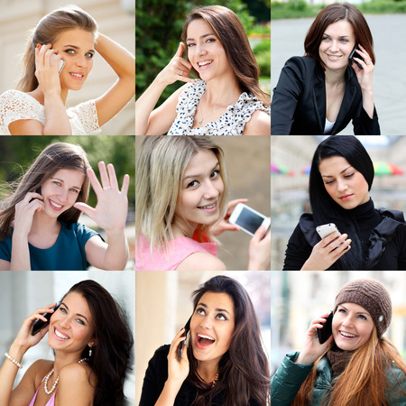 only 3 people: Happy people calling by mobile phone Stock Photo