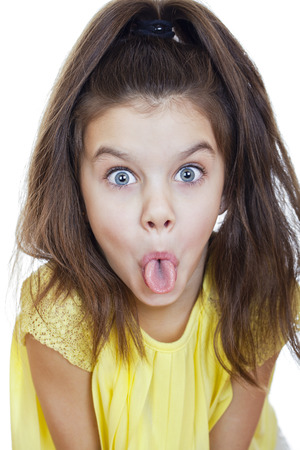 mockery: Crazy little girl, studio on white background Stock Photo
