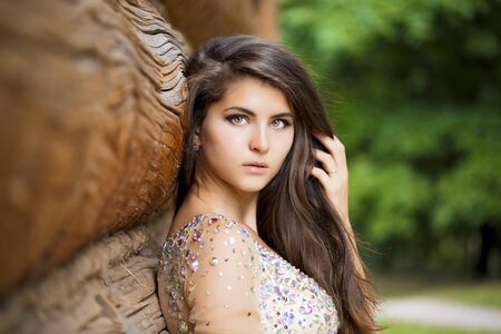sexy glamour: Beautiful young woman in sexy glamour dress