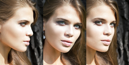 only 3 people: Portrait close up of young beautiful three women