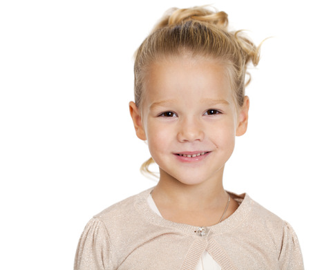 Portrait of beautiful little girl, studio on white background Standard-Bild