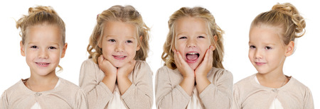 ni�as peque�as: Retrato de hermosas ni�as, estudio sobre fondo blanco