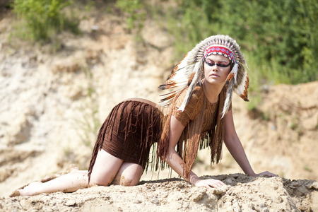 american sexy: Young woman in costume of American Indian Stock Photo