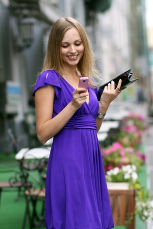 young woman in blue dress photo