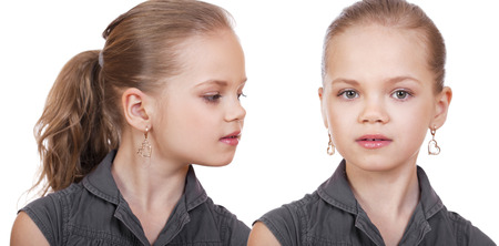 blonde little girl: Collage portrait of a beautiful young blonde little girl on a white background