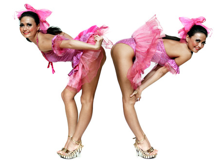 Collage, two young women dancing in a pink dress, Isolated on white background photo
