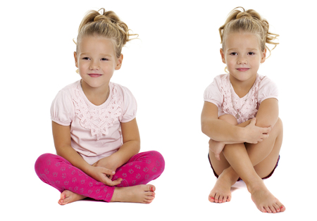 four person only: Collage, Portrait of beautiful little girls, studio on white background
