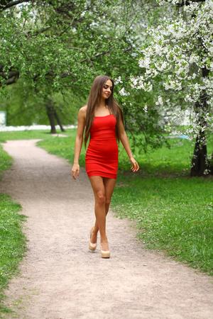 mujeres morenas: Joven y bella mujer en vestido rojo contra el fondo de las flores de primavera árboles