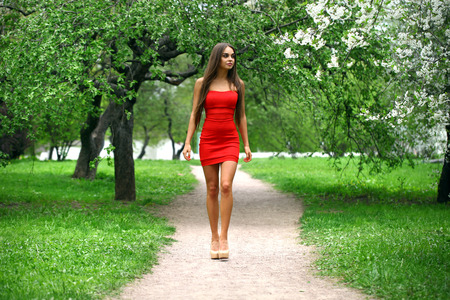 Beautiful young woman in red dress against the background spring flowers trees Stock Photo