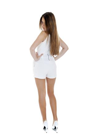vestido blanco: Retrato de mujer joven en el vestido blanco sexy Foto de archivo