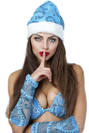 snegurochka: Sexy woman dressed in traditional russian christmas costume of Snegurochka (Snow Maiden), isolated on white background Stock Photo