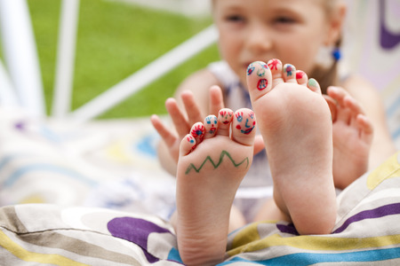 sole: Body part, Painted childrens fingers feet