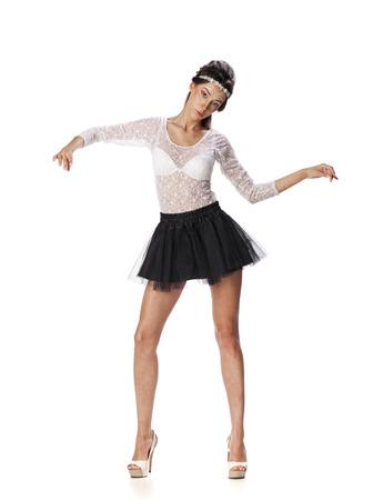white blouse: Full length portrait of a beautiful slim brunette model in black skirt and white blouse transparent, on white isolated background